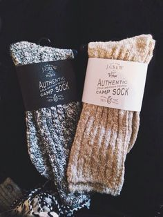 J. Crew camp socks. These are wonderful! They keep my feet warm, when it's below zero, I layer the smart wool under these.