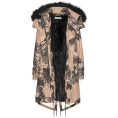 Off-White Printed Faux-Fur Lined Parka ($1,420) ❤ liked on Polyvore featuring outerwear, coats, beige, off white coat, faux fur lined parka, faux fur lined coat, beige coat and parka coat