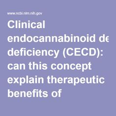 Clinical endocannabinoid deficiency (CECD): can this concept explain therapeutic benefits of cannabis in migraine, fibromyalgia, irritable bowel sy... - PubMed - NCBI