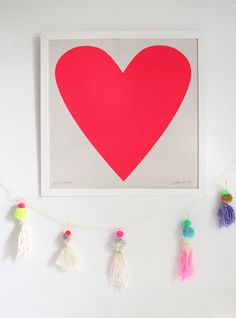 Screenprint – Fluoro Heart, Artwork for your Bohemian Home -Baba Souk Heart Artwork, Ribba Frame, Screen Print Poster, Sign Materials, Jingle All The Way, Kids Prints, Mixing Prints, Kids Decor, Decor Ideas