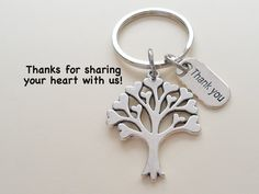 """Caregiver, Home Aid Caretaker, or Teacher Keychain Gift, Tree with Hearts and """"Thank You"""" Charm w/ Thanks for sharing your heart with us"""" Card by JewelryEveryday Volunteer Appreciation Gifts, Volunteer Gifts, Employee Appreciation, Thank You Tags, Thank You Gifts, Goodbye Gifts, Farewell Gifts, Thanks For Sharing, Gift Tree"""