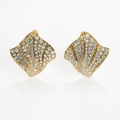 Kurt Wayne Diamond and 18 karat Gold Ear Clips.  Available exclusively at Macklowe Gallery.