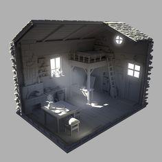 Little House, Cameron Mitchell on ArtStation at https://www.artstation.com/artwork/lNzko