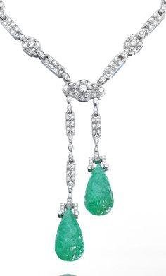 An Art Deco Emerald and Diamond Necklace, circa 1930