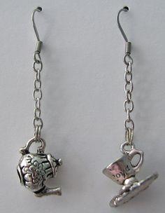 Tea Pot and Tea Cup Earrings Linear Dangle Earrings Tea Party Jewelry Alice in Wonderland Jewelry