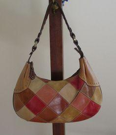 Leather Patchwork Design, Vintage Shoulder Bag....love this