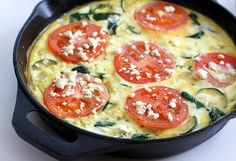 Tomato, Spinach & Feta Frittata. Such a healthy and easy breakfast to make, this is our weekday breakfast almost all the time!