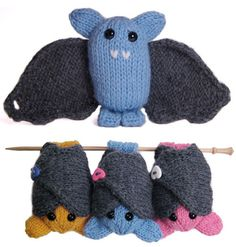 Boo is a knitted bat with wraparound wings, and feet that can hang from a branch. Spooky-cute!