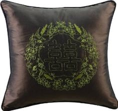 """Wedding gift:Bch Silk with Embroidery Cushion Cover , Throw Cushion Cover Sg1508-3 Chinese Character""""Xi"""" Pattern for Wedding Gift Throw Cushion Cover American Countryside Style Yellow"""