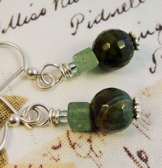 Dangle Agate Earrings Green Sterling Silver by PraytorProject, $14.00