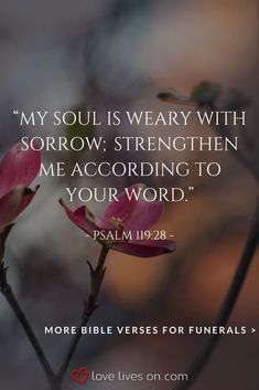 Find of the best Bible verses for comfort, strength, hope, and healing a grieving heart. Bible Verses For Funerals, Good Scriptures, Great Bible Verses, Healing Scriptures, Bible Love, Scripture Verses, Psalm 119, Psalms, Funeral Quotes