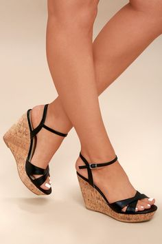 cae8075e9638 Cute Black Sandals - Wedge Sandals - Cork Sandals Everyday Shoes