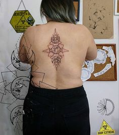 """Monika Paskud (@paskudtattoo) • Instagram Full Moon geometric tattoo. Designed and made by Paskud, Wrocław.   Witch tattoo made on a back. Gothic girl tattoo made in Wrocław, by Monika """"Paskud"""" Romańczyk"""