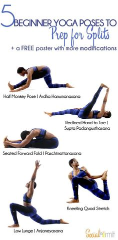 Yoga poses to prep for splits - Working on the various muscles that are involved in the split is key to getting comfortably into the pose. Even if you're not working towards the split, these poses are beneficial for opening up leg muscles that get neglect