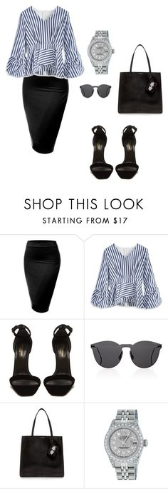 """Untitled #96"" by mayventu1999 on Polyvore featuring J.TOMSON, Chicwish, Yves Saint Laurent, Illesteva, Carven and Rolex"
