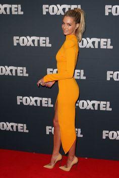 Jennifer Hawkins. mustard yellow. dress. everything!