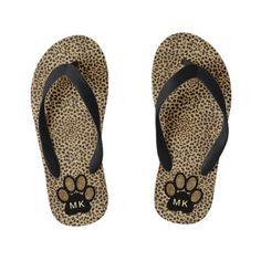 3c6ff0e3edf0 Girls Initials on Cheetah Animal Print Cat Paw Kid s Flip Flops  Personalized Flip Flops