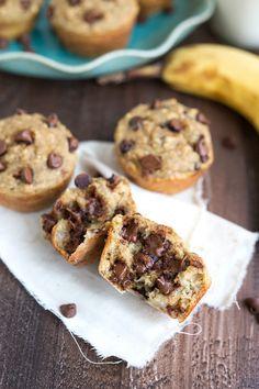 I spy chocolate chips! Yummm ~Annie~ EASY Flourless Greek Yogurt Banana Muffins