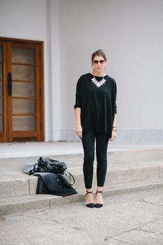 all black outfit * statement lucite necklace *