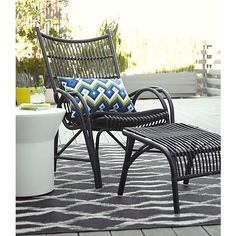 Kruger Black High Back Lounge Chair with Sunbrella® Black Cushion in Kruger Collection | Crate and Barrel