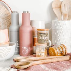 I'll never get sick of seeing our logo on our products. So much hard work has gone into creating our products and seeing them still make me happy every time.  Our logo was created by the talented team @longstoryshortprint so for those looking for a rebrand or product labels they are the team to see.  #girlbosses Kitchen Jar Labels, Custom Pantry, Kitchen Organisation, Custom Labels, Make It Yourself, Bottle, Product Labels, How To Make, Ocd