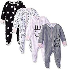 Newborn Baby Clothes - GERBER Baby Girls' Sleep N' Play Clothing. Cotton -Zipper closure -Machine Wash -Includes four Gerber sleep n' plays with mitten cuffs -Soft cotton jersey -Front zipper opening makes dressing and changing easier Baby Girls, Girls 4, Baby Baby, Baby Club, Girl Toddler, Baby Toys, Gerber Baby, Cute Kids, Kid Outfits