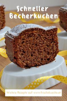Rezept Schneller Becherkuchen mit Sauerrahm Simple recipe for a quick pie cake with sour cream, coco Easy Cake Recipes, Dessert Recipes, Caramel Mud Cake, Cake Mug, Sour Cream Cake, Cupcakes, Food Cakes, Cacao, Quick Meals