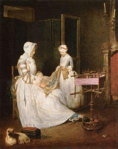 The hard-working mother by Jean-Baptiste-Siméon Chardin, 1740