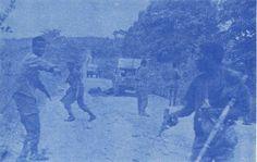 Guerrilheiros do ELNA atacando uma coluna portuguesa na via Kimaria-Toto. Imagem da FNLA.