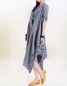 Women cotton long dress loose cotton dress asymmetric by MaLieb