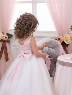 Pink and Ivory Flower Girl Dress Holiday by Butterflydressua