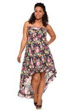 Floral Challis Hi-Lo Strapless Dress SKU: 566734