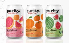 'Feel good fizz': Purity Organic launches new sparkling range Dessert Packaging, Water Packaging, Water Branding, Juice Packaging, Cool Packaging, Food Packaging Design, Beverage Packaging, Product Packaging, Fruity Drinks