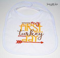 My First Turkey Day Baby Bib Thanksgiving by SewnWithLoveInTheUSA
