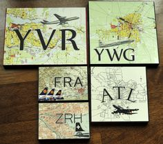 These are really cool. Prints of maps and the city's airport code.