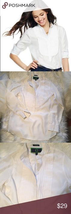"C Wonder eggshell silk tuxedo shirt small new NWOT C Wonder silk tux shirt in ""almost"" white.  This is not exactly cream but not crisp white. Like eggshell. Size small. 15"" shoulders. 35"" bust. 24"" sleeve. 29"" length C. Wonder Tops Blouses"