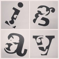 Font, Letter, Number w/ Positive & Negative space contrast. #artmajor #design
