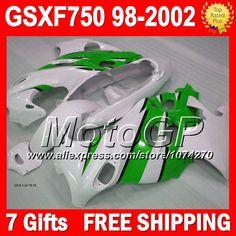 Купить товар+ обтекатели GSXF750 для SUZUKI KATANA зеленый белый 98 99 00 01 02 GSX750F 27P213 GSXF 750 1998 1999 жемчужно белый 2000 2001 2002 в категории Щитки и художественная формовкана AliExpress.                              Удостоверение личности aliexpress: MotoGP