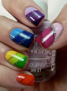 I would pick one color nail to do on the entire hand, but the idea of color gradations is cool.