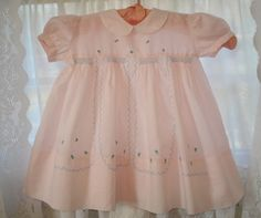 Vintage Baby Dress Pink Embroidered and Smocked Made for Kaufman's in Pittsburgh