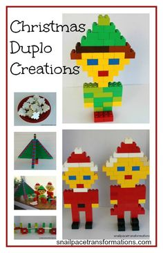 Get your children involved in the Christmas decorating this year. Have them create Christmas decor using their Duplo.