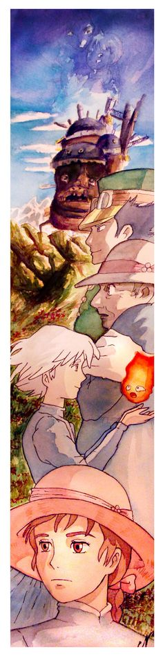 Thanks to because she inspired me while I did this painting (because she showed me a watercolor of the same film she did ) Sorry for the bad quality ^^u Size of the watercolor: 65x15cm EDIT: I'm re... howl's moving castle