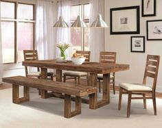 Furniture. natural polished walnut wood dining table under chrome metal pendant lamp set with single bench and armless dining chair having ladded backrest. Awesome Narrow Dining Room Table For Small Dining Room
