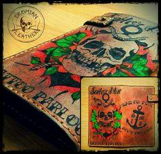 Tattooed leather wallet Dyi, Leather Wallet, Tattoos, Tatuajes, Tattoo, Japanese Tattoos, Tattoo Illustration, A Tattoo, Time Tattoos