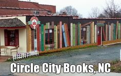 BOOK MURAL at Circle City Books & Music in Pittsboro, North Carolina  © Myles FRIEDMAN (Bookstore Owner) via his Blog, Jan 20, 2013. Mural by his daughter, Bailey FRIEDMAN & friend, Emily KERSCHER (Artists, North Carolina). Street Art. Book Shop ... KEEP attribution & artist link when repinning or posting to other social media (ie blogs, twitter, tumblr etc). Don't pin the image & erase the artist. Give credit where due. See: http://pinterest.com/picturebooklove/how-to-pin-responsibly/