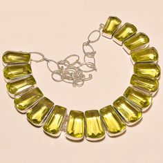 FACETED LEMON TOPAZ DAZZLING .925 SILVER NECKLACE #Handmade #Choker