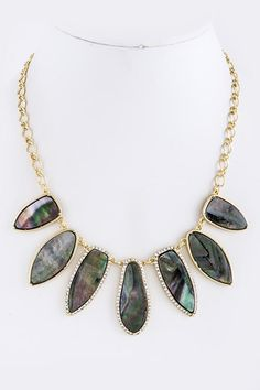 Maxine Necklace in Blue Mother of Pearl