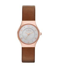 SKAGEN Rose Gold-tone Brown Leather Watch