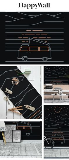 Van Life wall mural from Happywall #wildcamping #nightsky #water #illustration #escape #travel #moonlite #wallpaper #linear #parking #moon #reflection #camping #hills #lineart #wallpapers #landscape #starynight #minimalistic #campervan #happywall #lake #minimalism #wallmurals #camper #roadtrip #sleep #geometric #stars #wallmural