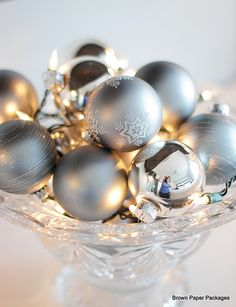 Lights with ornaments in a pretty bowl...how pretty!